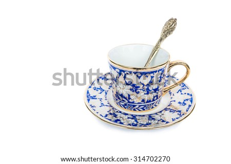 Classic luxury porcelain cup set, isolated on white background - stock photo