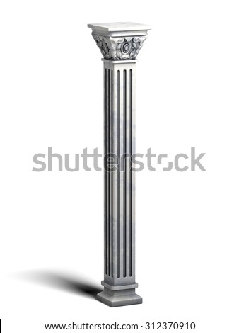 Classic Marble Square Column - stock photo
