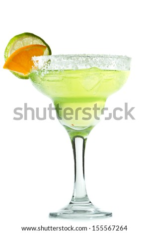 classic margarita with a salt rim, lime and orange garnish isolated on a white background - stock photo