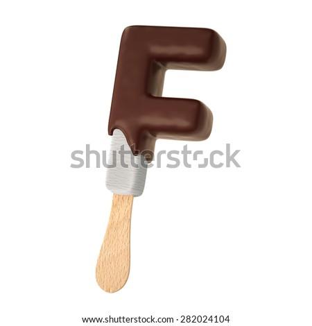 classic melting chocolate ice cream alphabet on white background - stock photo