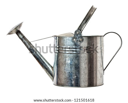 classic metal watering can isolated on white background - stock photo