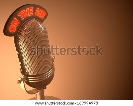 Classic microphone in closed perspective view. Your text on right space. - stock photo