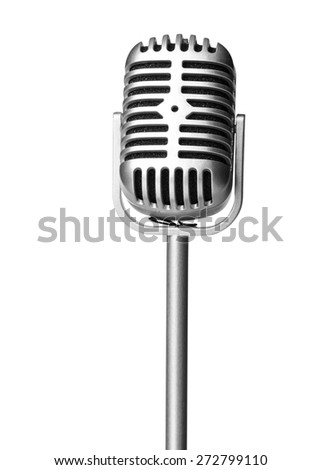 Classic microphone isolated on white - stock photo