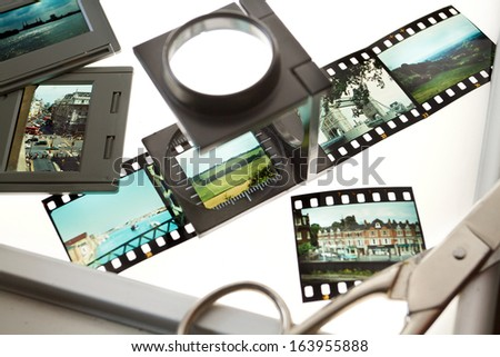 Classic 35 mm Slides on a Light Box - stock photo