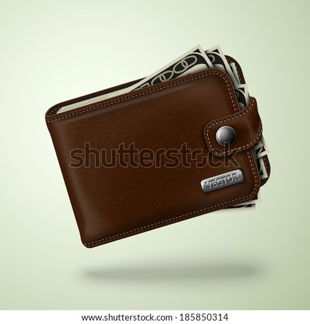 Classic modern brown leather pocket closed fat wallet filled with dollar banknotes  illustration - stock photo