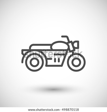 Classic motorcycle line icon isolated on grey