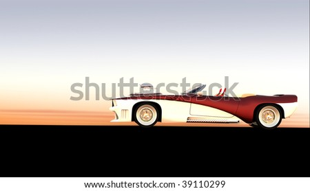 Classic muscle car at sunset / sunrise with copy space - stock photo