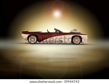 Classic muscle car - sunrise / sunset moody studio shot - stock photo