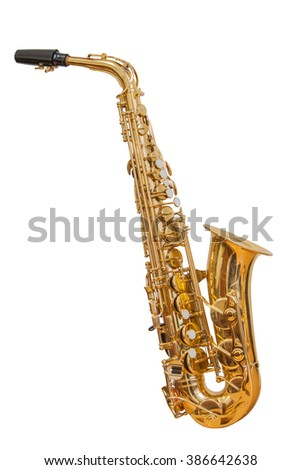 classic musical instrument saxophone isolated on white background