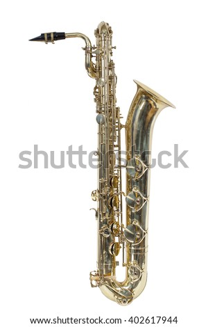 classic musical instrument, the baritone saxophone isolated on white background - stock photo