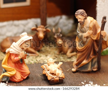 Classic Nativity scene with Jesus, Joseph and Mary in a manger 6 - stock photo