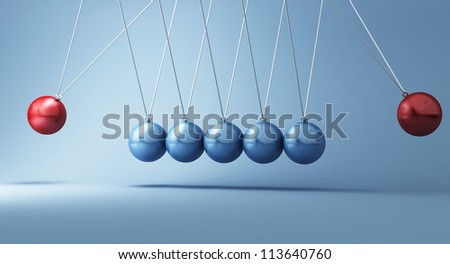classic newton cradle with opposite power - stock photo