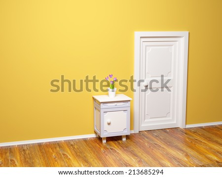 classic nightstand with flower at the wall and door - stock photo
