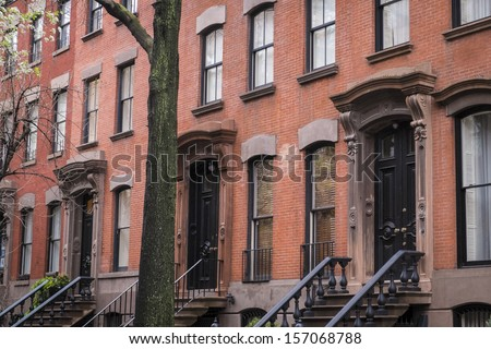 Classic old apartment building in Greenwich Village, New York City - stock photo