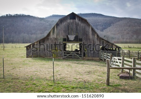 Classic old barn in Arkansas in late winter.