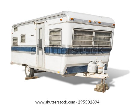 Classic Old Camper Trailer Isolated on White. - stock photo