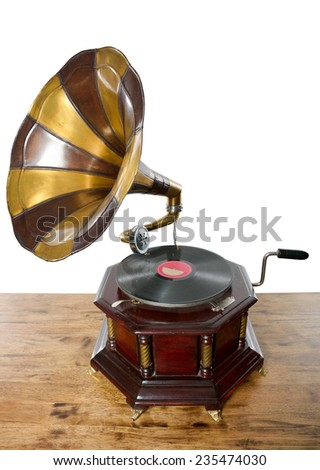 classic, old gramophone - stock photo