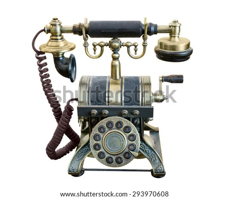 Classic old phone. bronze, retro. isolated. close-up. white background
