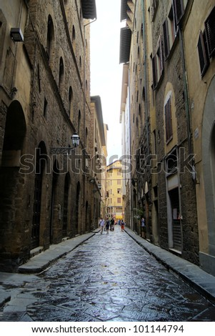 Classic old street in the center of Florence, Italy - stock photo