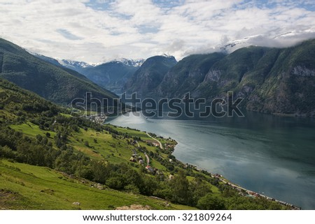 Classic panoramic view to the fjord from viewpoint on National Tourist Route Aurlandsfjellet, Norway.