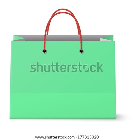 Classic paper shopping green bag with red grips background. Raster version illustration.