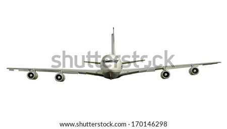 Classic passenger jet front view isolated on white - stock photo