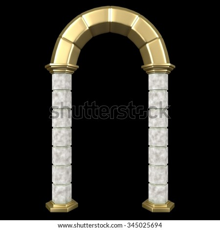 Classic Pillars Arch Isolated On Black. 3d rendering.