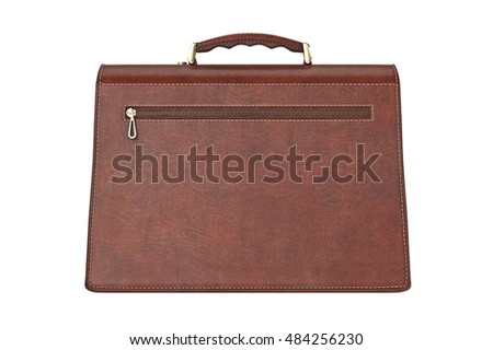 Classic portfolio with zipper accessory, back view. 3D graphic