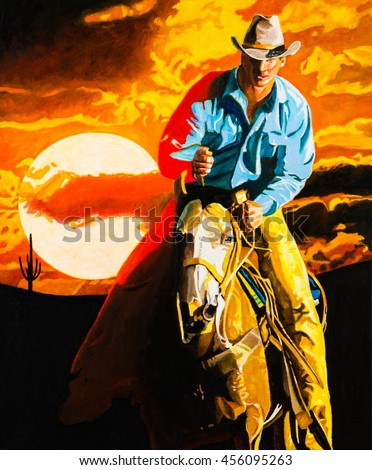 Classic portrait of a cowboy on a horse at sunrise.