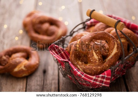Classic Pretzels with festive lights