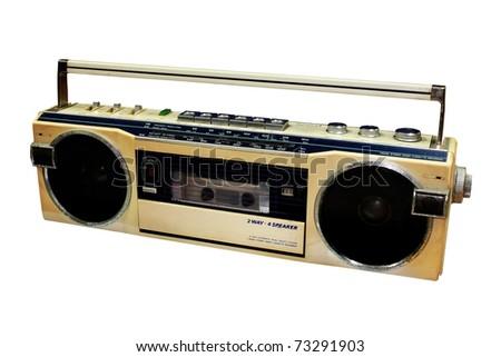 Classic Radio isolated on white background - stock photo
