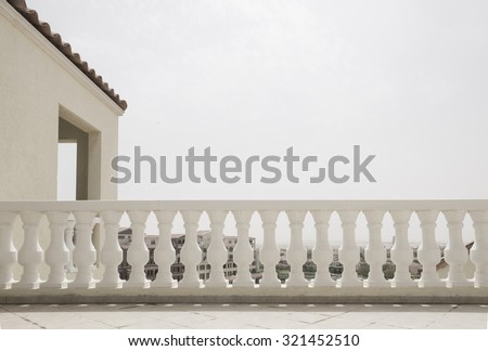 Classic railing design on the roof.  - stock photo