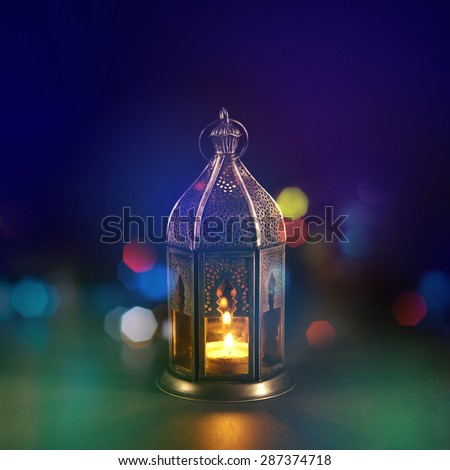Classic Ramadan light with creative lighting blur effect. Islamic festival background design. - stock photo