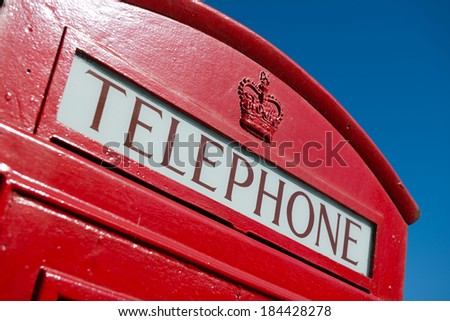 Classic red British telephone box in London - stock photo