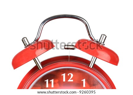 Classic red clock a over white background