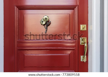 Classic Red Front Door with Brass Hardware