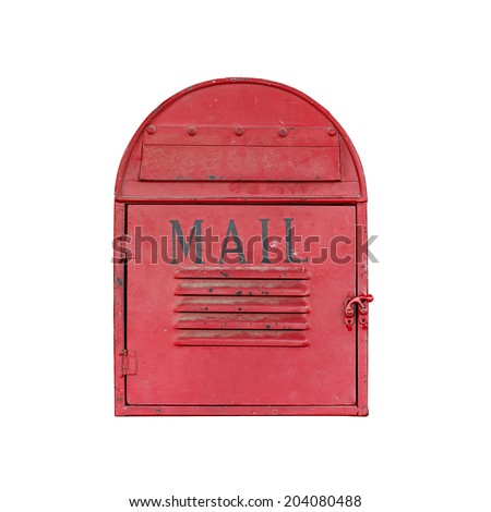 Classic red metal mail box isolated on white background - stock photo