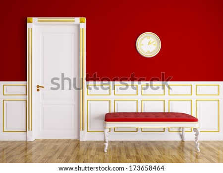 Classic red white interior with couch and door - stock photo
