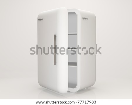 Classic Refrigerator on white background - stock photo