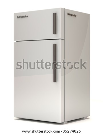 Classic Refrigerator on white background - stock photo
