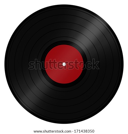 Classic retro/vintage music LP record disc popular with DJs and the disco scene. Isolated on a white background with clipping path. - stock photo