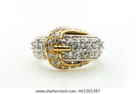 classic ring with a yellow topaz stone on white background