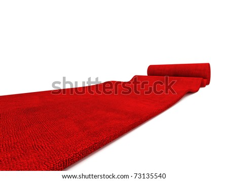 classic rolling red carpet on white background - stock photo