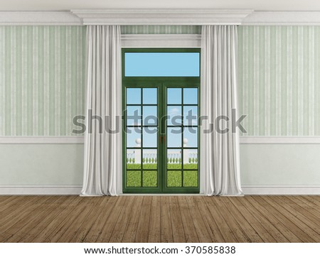 Classic room with closed window and curtain - 3D Rendering - the image on background is a my rendering composition - stock photo