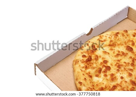 Classic Round Cheese Pie With Brownish Crust Or Italian Quarto Formaggi  Pizza Or Georgian Khachapuri  In Carboard Box Isolated  On White Background, Top View - stock photo