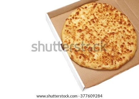 Classic Round Cheese Pie With Brownish Crust Or Italian Quattro Formaggi Pizza Or Georgian Khachapuri  In Cardboard Box Isolated  On White Background, Top View - stock photo