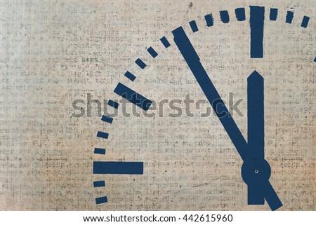 classic round clock design on textured background - stock photo