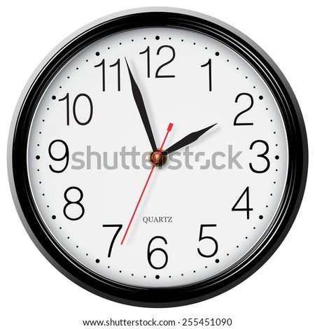 Classic round wall clock isolated on white background - stock photo