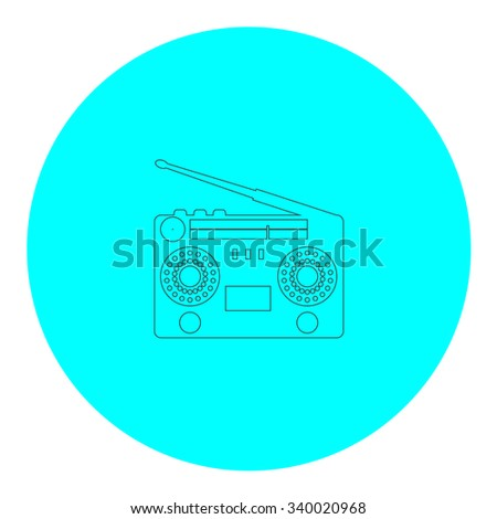 Classic 80s boombox. Black outline flat symbol on blue circle. Simple illustration pictograh on white background - stock photo