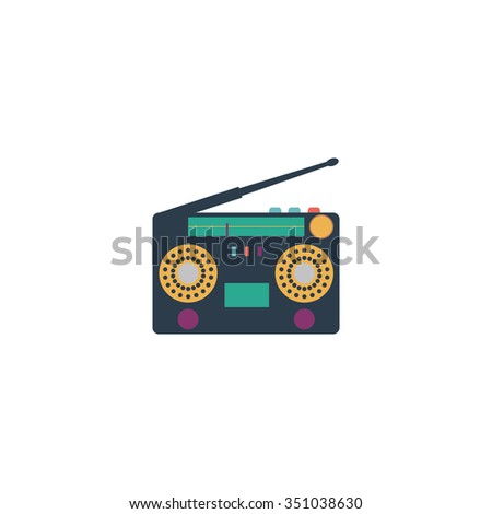 Classic 80s boombox. Colorful pictogram symbol on white background. Simple icon - stock photo